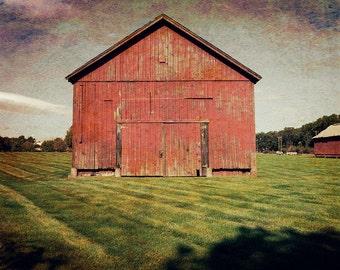 Barn Photography, Rustic Home Decor, Farmhouse Decor, Classic Red, Barn Landscape, Faded Barn Photo, Canvas Wrap or Print