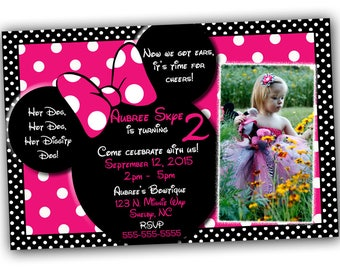 SALE Minnie Mouse Invitationwith FREE thank you card, Minnie Mouse Birthday, Pink Minnie Mouse invitations, Minnie Mouse party