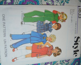 Vintage 70s Style 1833 Toddlers  Dress or Top and Trousers Sewing Pattern - UNCUT -  Size 1  or Size 3 or Size 4