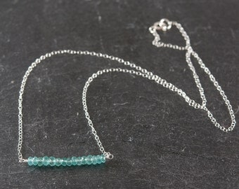 Dainty Aqua Blue Apatite Gemstone Necklace, Delicate Sterling Silver or Gold Fill Chain, Gemstone Bar Necklace
