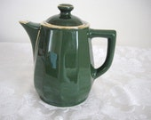 Apilco Forest Green & Gold Gilt Lidded Coffee or Hot Water Pot
