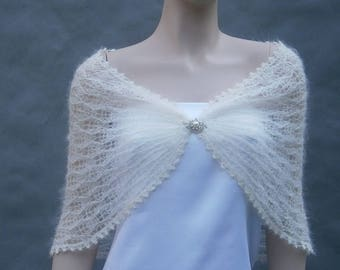Kahlan - Ivory  - Knitted stole, wedding cape **Ready To Ship**