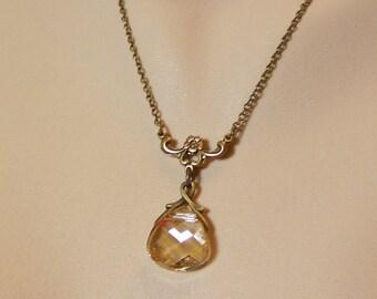 Topaz Necklace, Gold Topaz Necklace, Light Gold Topaz Necklace, November Birthstone, Topaz Teardrop, Topaz Briolette Necklace, Topaz