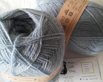 Light Blue Baby Blue Solid Kauni SS 2 ply wool sport weight yarn. Knit Crochet and Felt. Imported from Denmark. Ships from USA