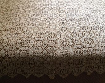"""Antique 78"""" X 64"""" cotton crochet bedspread coverlet bed spread handmade French country farmhouse romantic cottage chic bedroom home decor"""