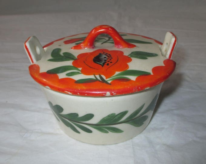 Erphila Art Pottery Individual Casserole with Lid, POPPY, Czecho Slovakia Mark (c. 1920s)