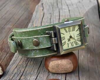 Leather watch, Women wrist watch, Women leather cuff watch, Squere cuff watch