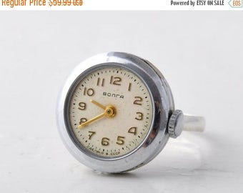 "Silver ring watch ""Chaika"", Womens watch, Vintage ring watch ,Soviet watch, Elegant watch"