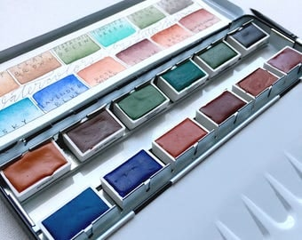 The (FULL PAN) French Mineral Set - handmade travel watercolor paints