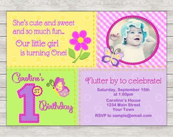 Butterfly 1st Birthday Invitation, Butterfly Invite - Printable File or Printed Invitations