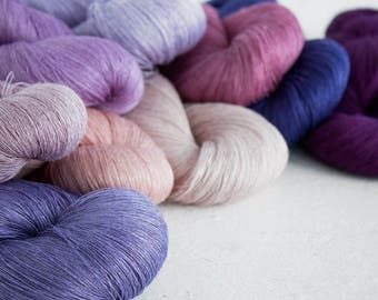 Set of 9 linen skeins - putrple pink linen thread