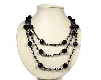 Sale Vintage Black Multistrand Glass Bead Necklace
