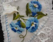 Morning Glory Hummingbird Fabric Textile Brooch Upcycled Vintage Handkerchief Hankie OOAK - Atlantic Rock Threads
