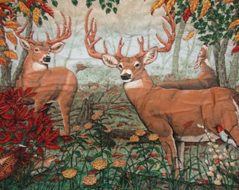 Handmade Quilted Buck and Deer Table Cover Runner Wall Hanging