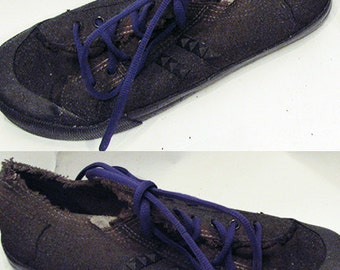Kylla upcycled distressed post apocalyptic studded sneakers shoes brown with purple laces size US women's 8