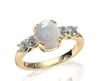 9x7mm Australian White Opal Ring w/ 0.4ct Diamond in 14K or 18K Gold SKU: R2253