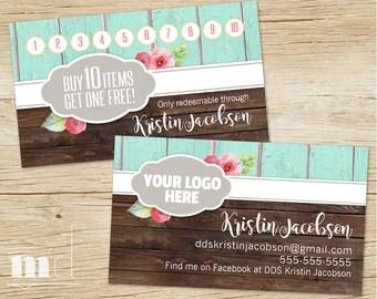 Custom Rustic Wood Punch / Business Cards, DotDotSmile Customizable Loyalty Biz Card, Dot Smile Sales Marketing Kit, Shabby Chic PRINTABLE