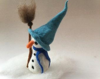 Snowman.Winter.Snow. Wet Felted. Waldorf.