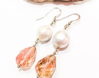 Freshwater Pearl and Cherry Quartz Earrings