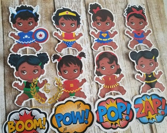 African American Baby Girl Superhero Cupcake Toppers-12, Superhero Baby Shower, Girl Superhero, African American Baby Girl Superhero