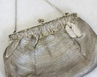 1920s silver thread purse // french brocade clutch // vintage purse