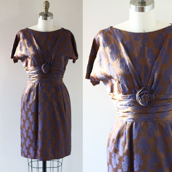 1960s Rosebud Cocktail Dress // brown and purple floral // vintage silk dress