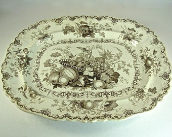 "Antique English IRONSTONE TRANSFERWARE PLATTER, ""Fruit Basket"" Brown, Copeland & Sons, Staffordshire Potteries, 17"" x 14"""