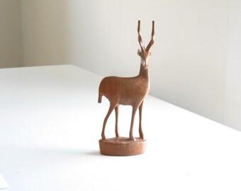 Vintage carved wooden gazelle / wood antelope carving / wooden african animal figurine / boho tribal home decor