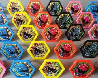 24 POWER RANGERS rings for cupcake toppers cake birthday party favors Saban Black Pink Blue Red Yellow Mighty Morphin Morphinominal movie TV