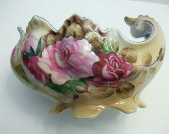 Hand painted Victorian style porcelain footed bowl.