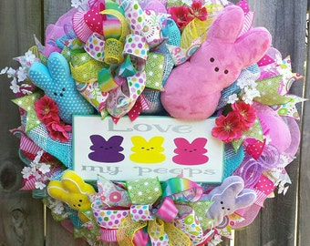 Easter Peep wreath, Easter bunny wreath, Easter bunny decor,Easter peeps, Easter mesh wreath, Spring wreath, Bunny wreath, Easter wreath