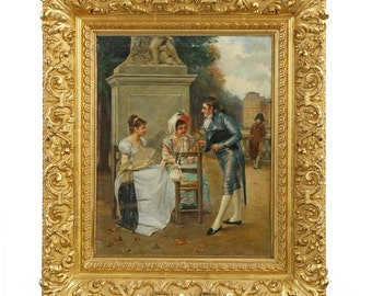 """Charles Louis Kratke Oil Painting on Canvas, """"The Courtship"""""""