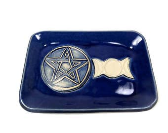 Triple Moon Dish, Pentacle Dish, Wiccan Altar Dish, Pentagram Décor, Wiccan Décor,Pagan Home Décor, Altar Tool, Pentagram Plate,Moon Goddess