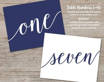 Navy Table Number Tents // Printable Table Cards Wedding // Folding Table Numbers Printable Template 1-40