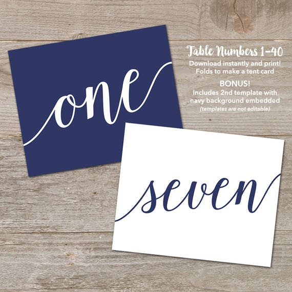 Navy Table Number Tents // Printable Table Cards Wedding // Folding Table Numbers Printable Template 1-40 & Navy Table Number Tents // Printable Table Cards Wedding //