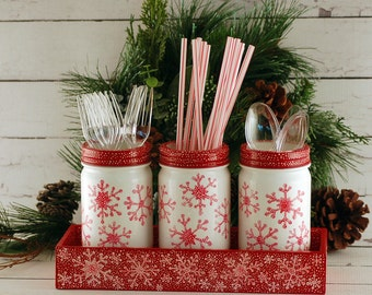 Mason jar utensil holder, red and white snowflakes, hand painted