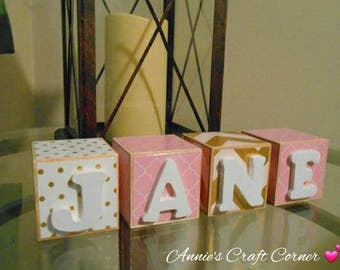 Personalized Baby Name Blocks Pink ,Gold and Cream 2x2 Inch Wooden Nursery Decor Newborn-Maternity Belly Photo Shoot Prop- Pregnancy Gift