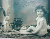 "Baby girl's portrait with her bunny postcard  ""Bonne Année"" little girl with her toys flowers child black and white portrait french vintage"