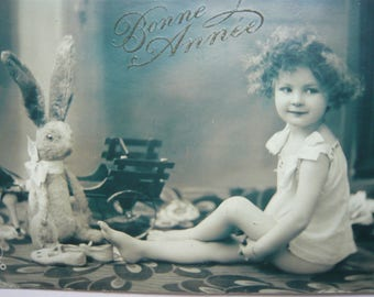 """Baby girl's portrait with her bunny postcard  """"Bonne Année"""" little girl with her toys flowers child black and white portrait french vintage"""