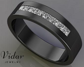 Mens Wedding BandDiamond BandPrincess Cut Diamond RingBlack Gold