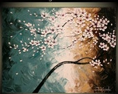 """CLEARANCE SALE Original Impasto Acrylic Modern Abstract Art  Painting on  Gallery wrapped Canvas 24"""" x 18"""", Home Decor, -Cherry Blossoms- by"""