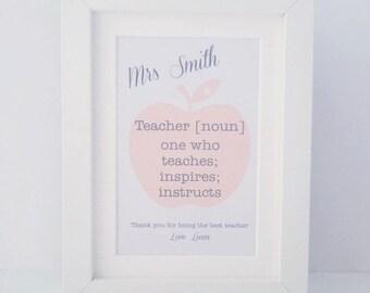 Teacher definition frame | mini personalised frame | teacher gift