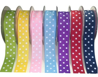 White Polka Dot Spot Grosgrain Ribbon (W)25mm / 1 inch - 1mtr - 10mtr Many Colours