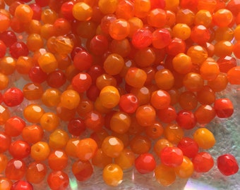 Czech Glass Fire Polished Faceted Orange Opal 6mm Beads x 50