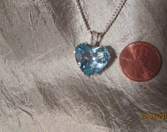 Natural Heart Shaped Blue Topaz Pendant