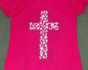 Field of crosses V-neck stretchy T-shirt