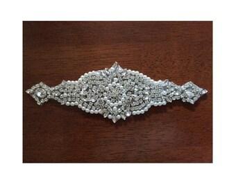 Rhinestone Applique, Bridal Accessory Motif, Crystal Rhinestone Beaded Applique, Wedding Dress Applique, Sash Belt Applique, Headband, Ap2