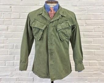 Vintage 1960s Vietnam War Military Police MP Modified Jungle Jacket. Size S