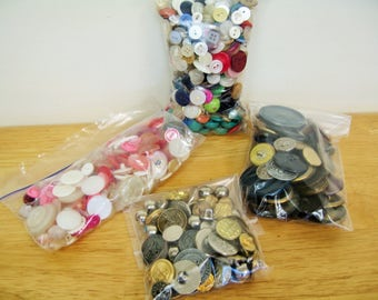 Vintage Button Lot - Gold, Silver, Pink, Mixed Colors