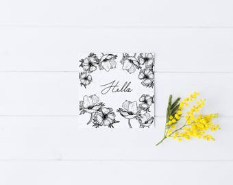 Hello Card Stationary Greeting Occasion B&W